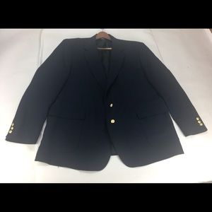 Mikael York 2 Gold Button Navy Blazer Size 52L